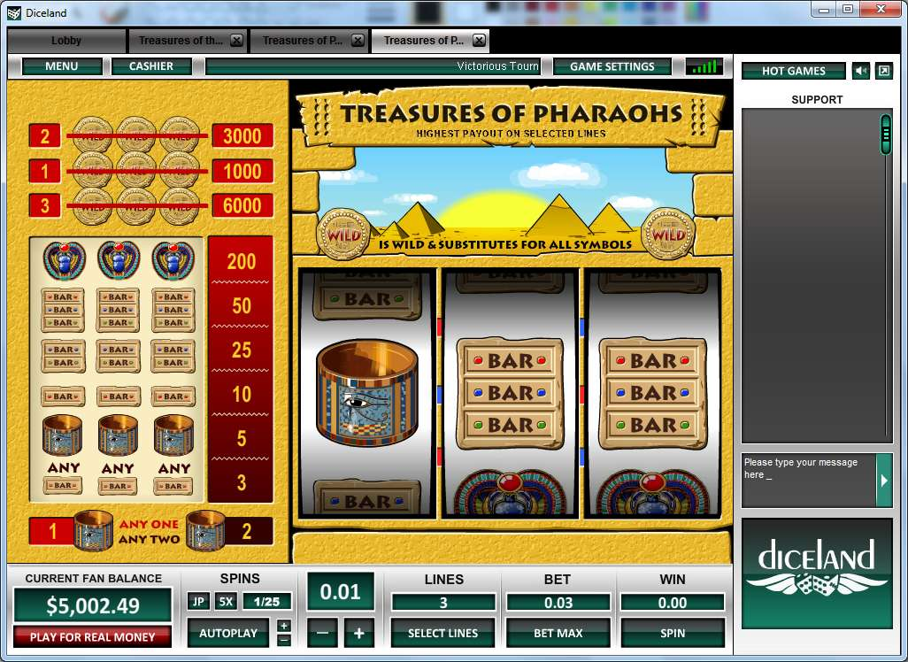 Game Review Treasure of Pharaohs 3 Lines