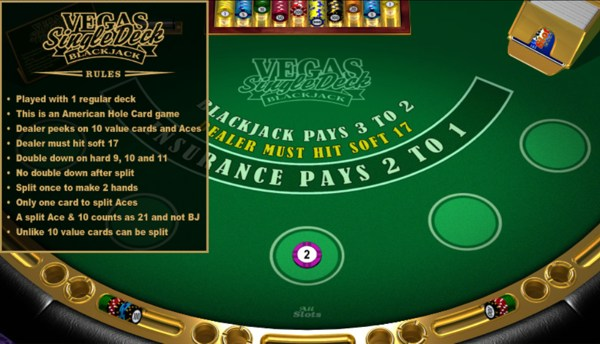 Las vegas casinos with single deck blackjack legal gambling mn